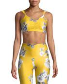 Onzie La Femme Ruffle-Strap Cinched Floral Sports Bra