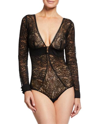 Afterwork Long-Sleeve Lace Bodysuit