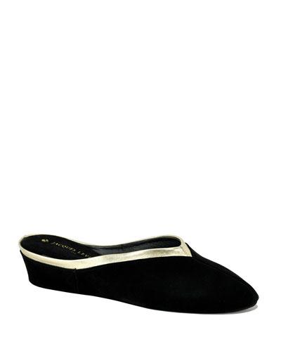 Suede Wedge Mule Slippers