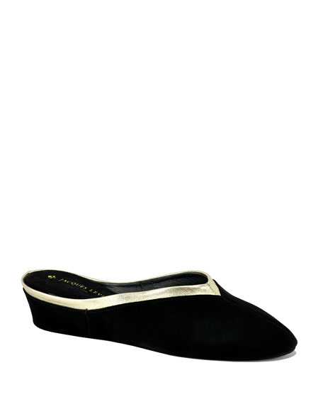 Jacques Levine Suede Wedge Mule Slippers