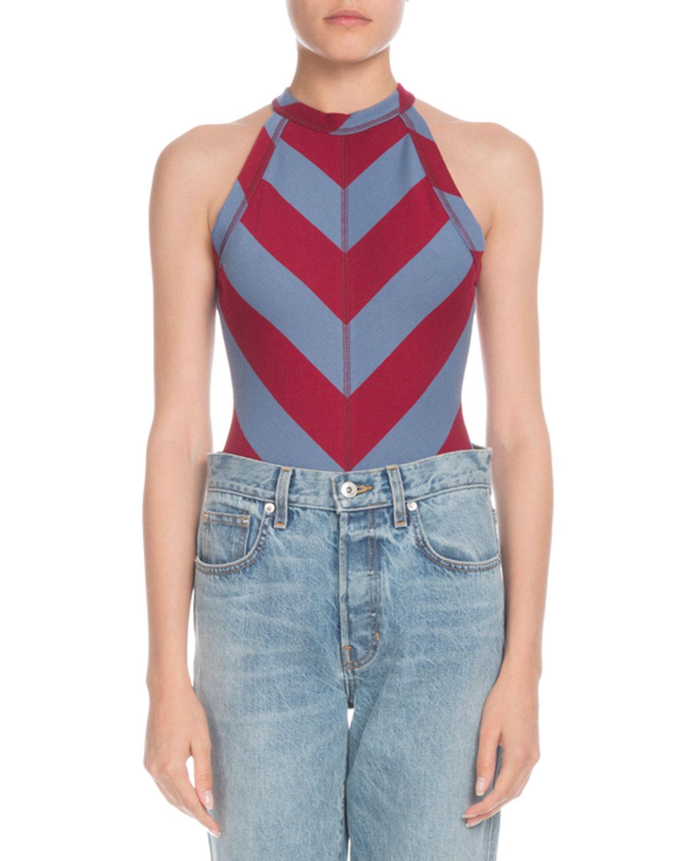 PSWL High-Neck Chevron Sleeveless Bodysuit in Red Pattern