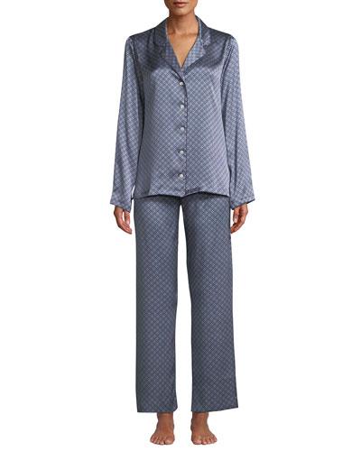 Brindisi Classic Medallion-Print Silk Pajama Set
