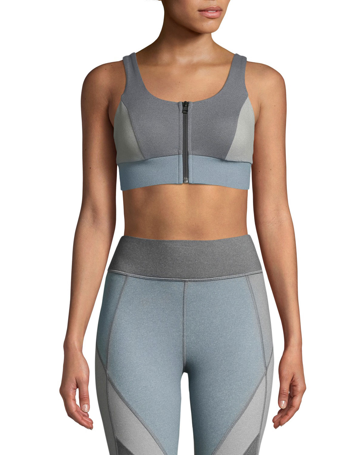 MICHI Mist Zip-Front Colorblock Sports Bra in Blue