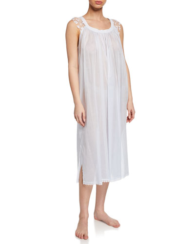 Bettina Sleeveless Nightgown with Lace Trim