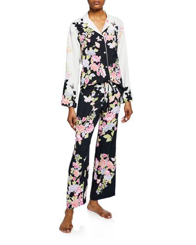 Gardenia Floral-Print Satin Pajama Set