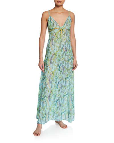 Severine Floral-Pattern Long Nightgown