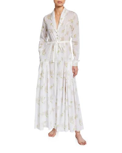Florine Floral-Print Long Robe