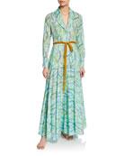 La Costa Del Algodon Severine Floral-Print Long Robe