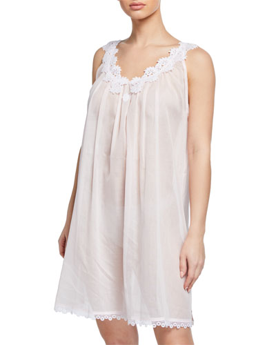 Azisa Sleeveless Babydoll Nightgown with Floral-Lace Trim