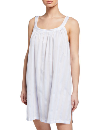 Daliah Sleeveless Celestine Satin Striped Babydoll Nightgown