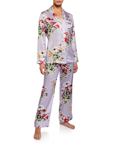 Lila Veridiana Floral-Print Classic Silk Pajama Set
