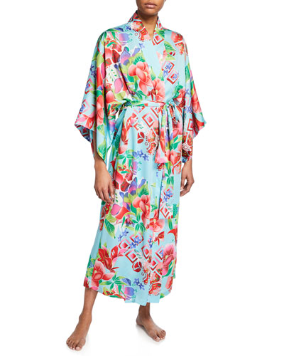 Star Blossom Long Satin Robe