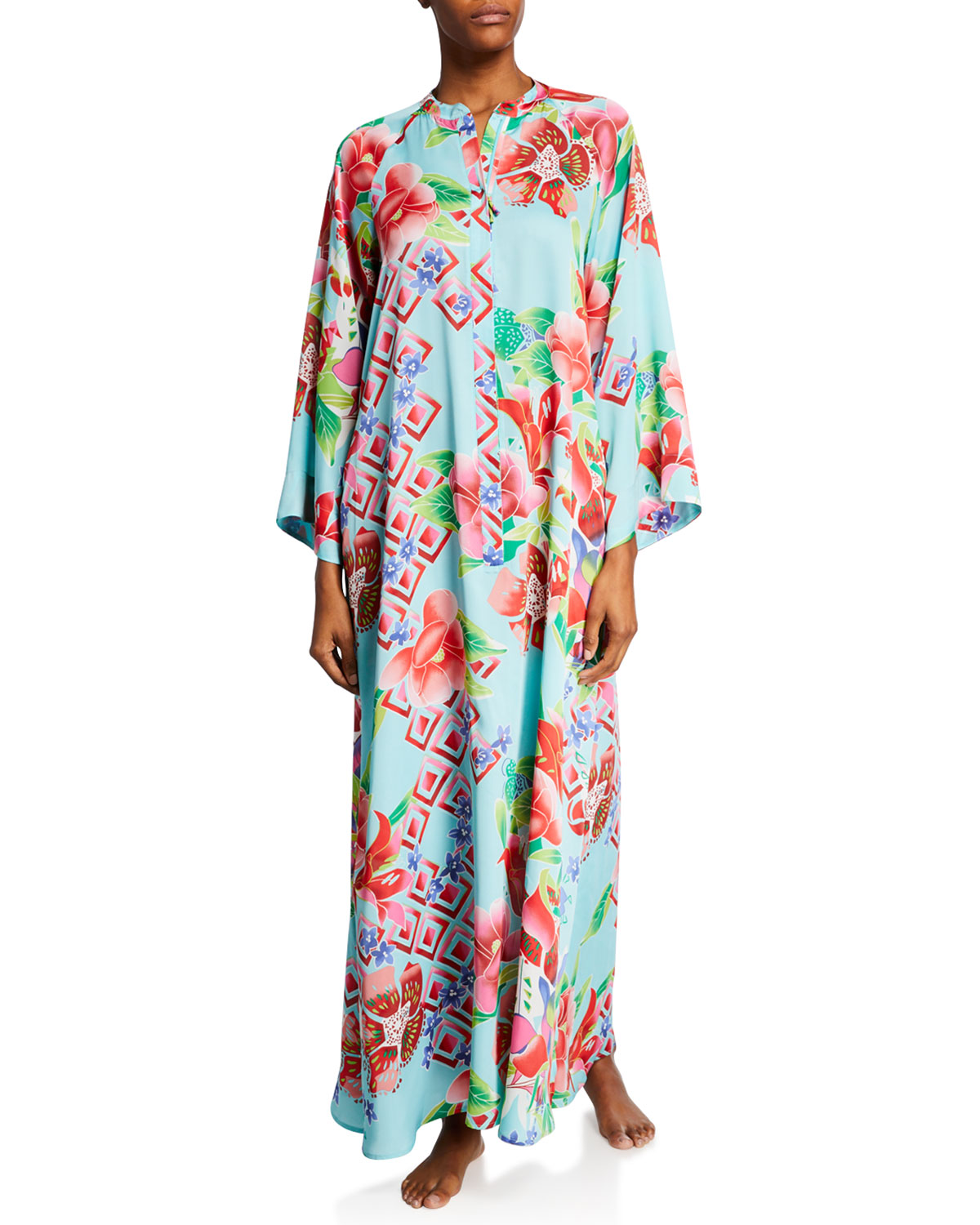 Natori Tops PLUS SIZE STAR BLOSSOM FLORAL-PRINT ZIP-FRONT CAFTAN
