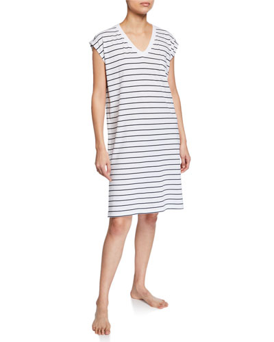 Afton Striped V-Neck Cap-Sleeve Sleepshirt