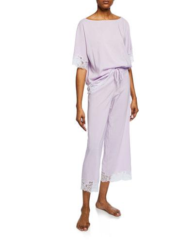 Lace-Trim Short-Sleeve Lounge Set