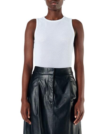 Tibi Tech Poly Mesh Sleeveless Bodysuit
