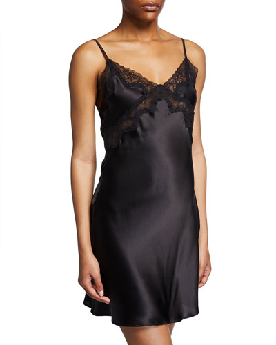 Quick Look. Samantha Chang · Classic Lace-Trim Silk Chemise. Available in  Black 339707c09