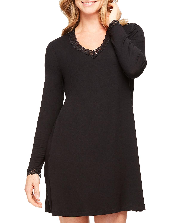 Lace-Trim Long Sleeve Nightshirt