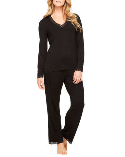 Lace-Trim Long-Sleeve Pajama Set