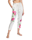 Josie Natori Lily Floral-Embroidered Lounge Pants