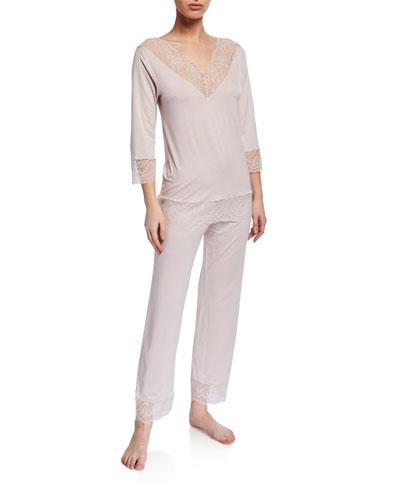 Lace-Trim Jersey Long Pajama Set