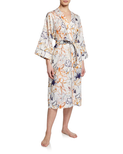 Floral-Print Long Cotton Robe