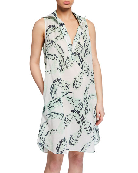Pour Les Femmes Crown Leaf-Print Shift Nightdress