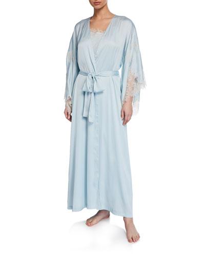 L'Amour Lace-Trim Long Robe