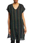 Eileen Fisher Petite Striped Double Weave Short-Sleeve Cotton