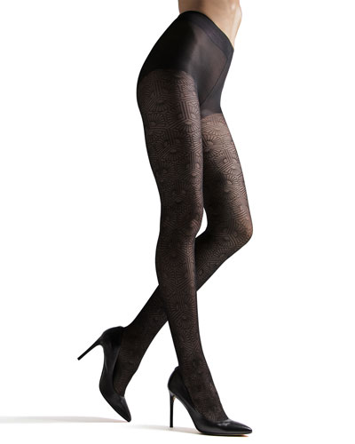 Sheer Fan-Pattern Tights