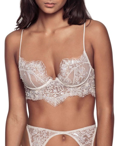 Embellished Lace Longline  Lace-Up Bra