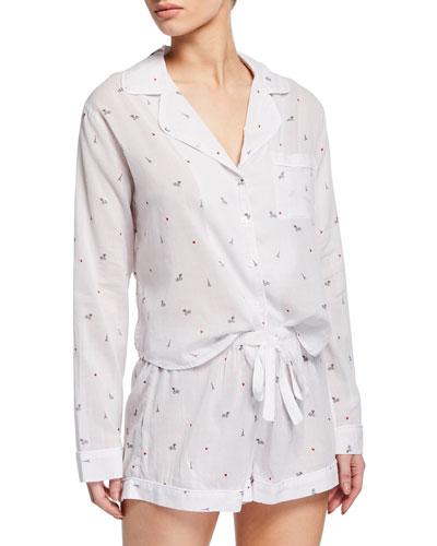 Little Paris Long-Sleeve Shortie Pajama Set