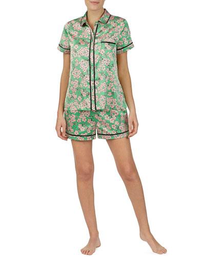 floral-print charmeuse shortie pajama set