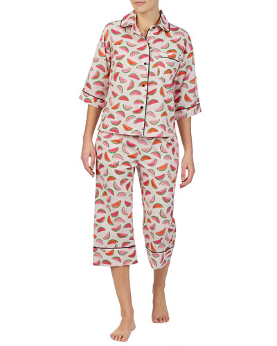 lawn watermelon-print crop pajama set