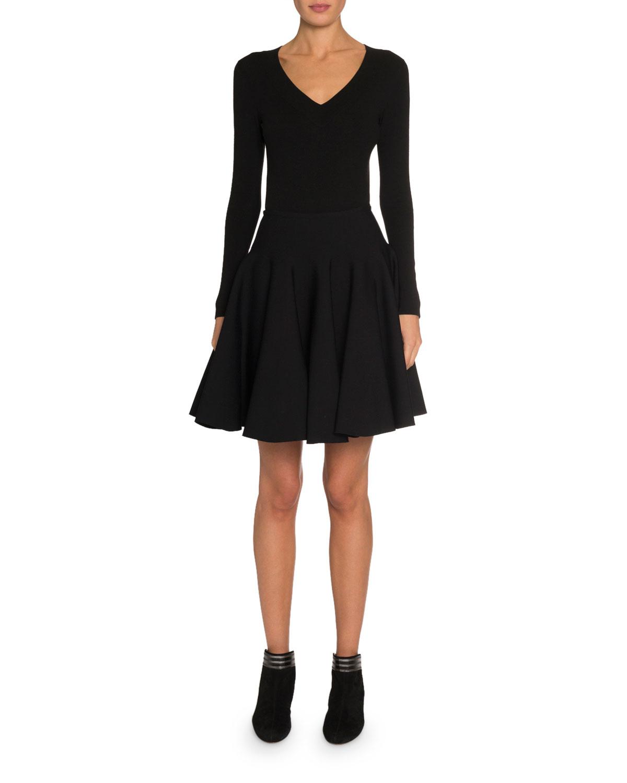 Wool Long-Sleeve V-Neck Bodysuit