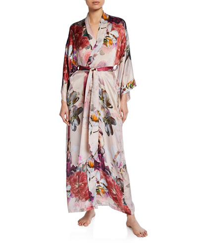 Camille Floral-Print Long Silk Robe