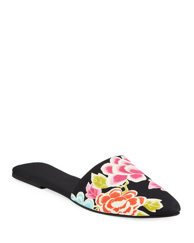 Printed Satin Mule Slippers