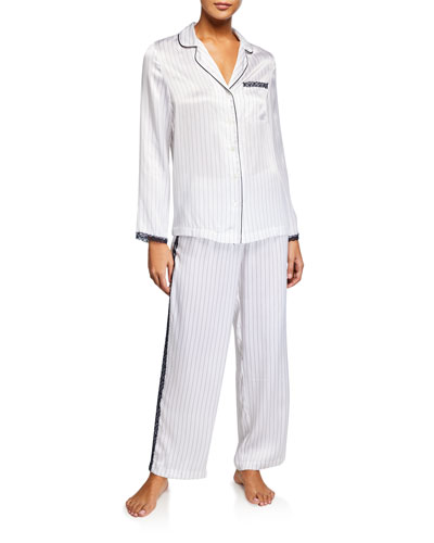 Lace-Trim Silk Pajama Set