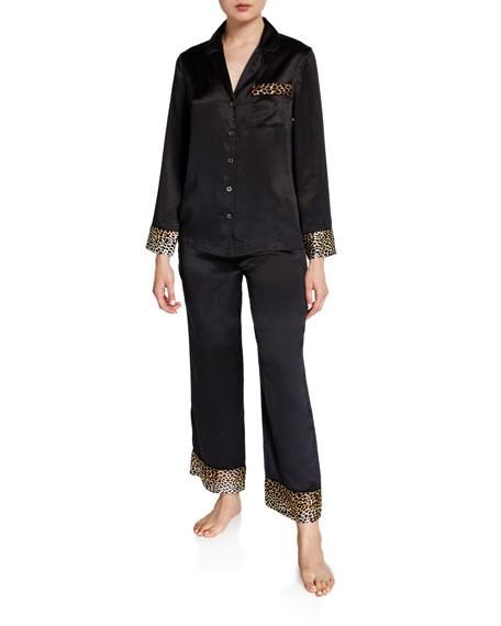 Neiman Marcus Leopard-Print Long Pajama Set