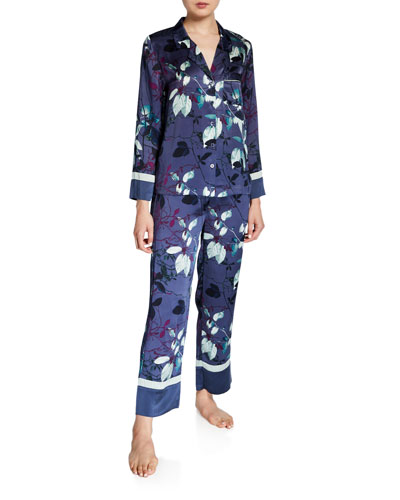 Two-Piece Floral-Printed Silk Pajama Set with Contrast Cuff