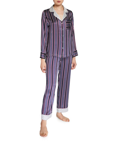 Striped Two-Piece Silk Pajama Set w/ Polka-Dot Contrast