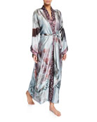 Christine Lingerie Solitude Floral-Print Silk Long Robe