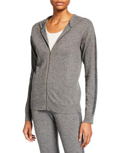 Cashmere Metallic-Stripe Zip-Front Hoodie