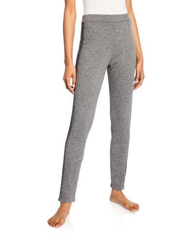 Cashmere Slim Pants w/ Metallic Stripe