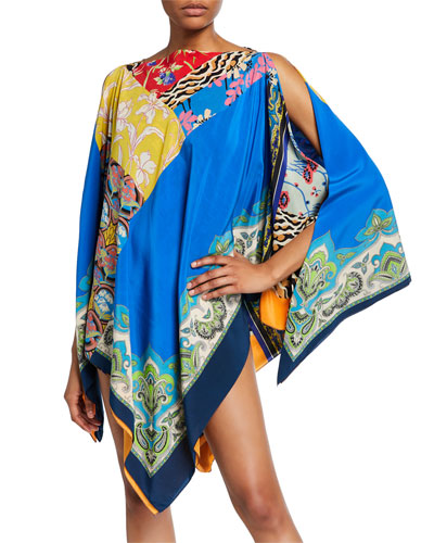 Printed Silk Coverup Poncho