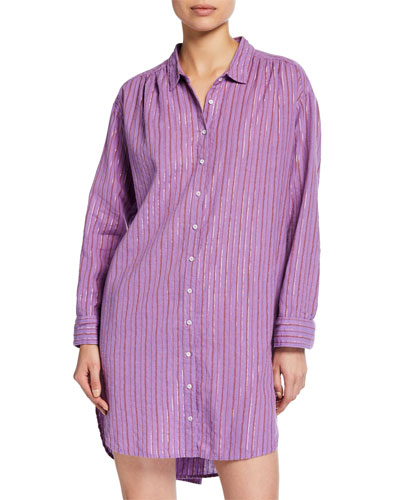 Macyn Striped Long-Sleeve Cotton Sleep Shirt