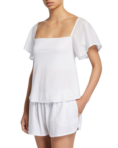 Josie Short-Sleeve Lounge Top w/ Shelf Bra