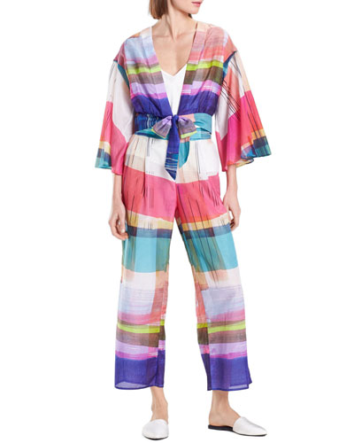 Brushstroke Plaid Silk-Blend Lounge Pants