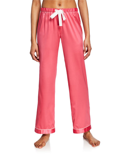 Chantal Contrast-Trim Silk Pajama Pants