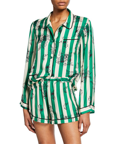 Ruthie Striped Floral Pajama Top